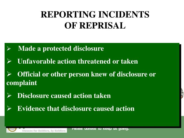 REPORTING INCIDENTS