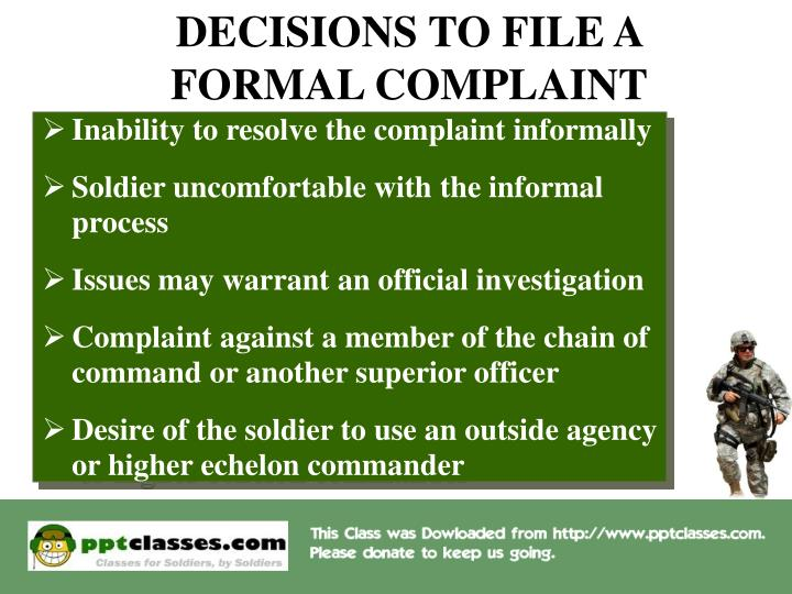 DECISIONS TO FILE A FORMAL COMPLAINT