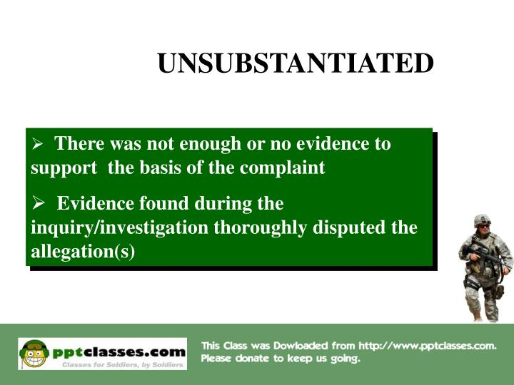 UNSUBSTANTIATED