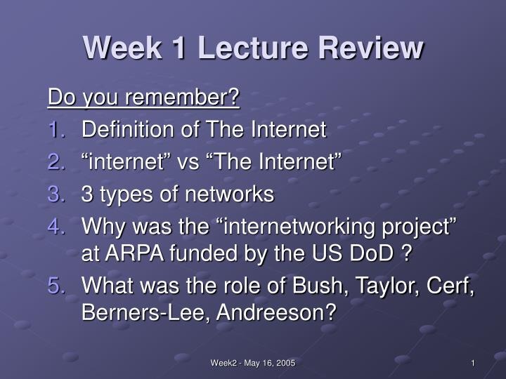week 1 lecture review n.