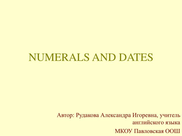 numerals and dates n.