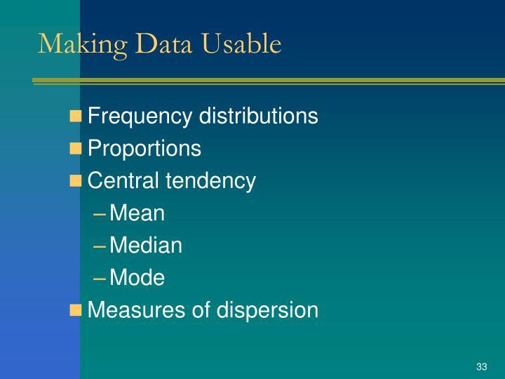 Making Data Usable