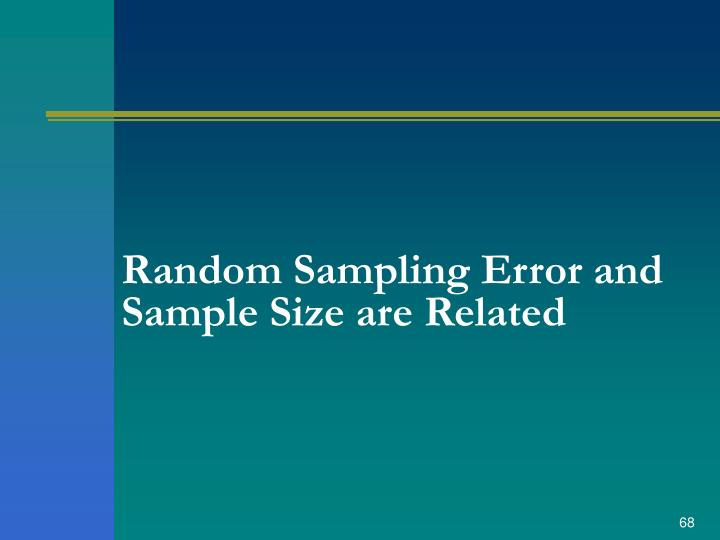 Random Sampling Error and Sample Size are Related