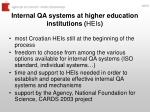 internal qa systems at higher education institutions heis