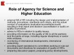 role of agency for science and higher education