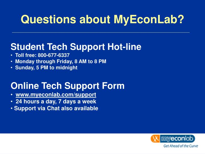 Questions about MyEconLab?