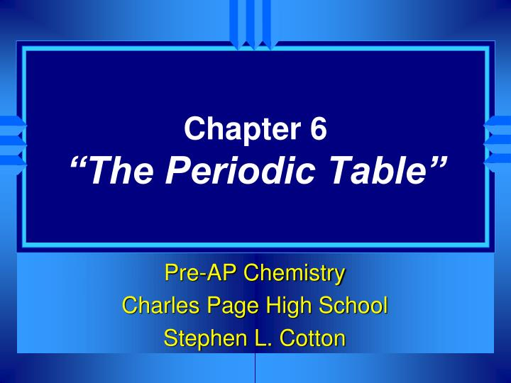 chapter 6 the periodic table n.