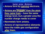 ionic size anions