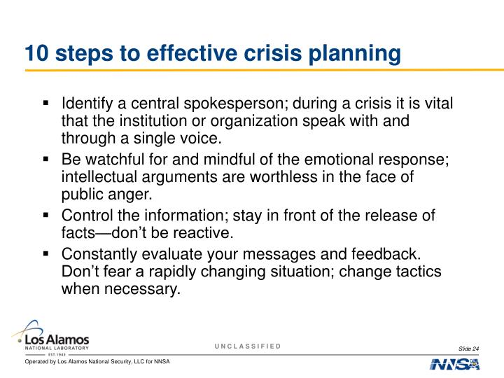 10 steps to effective crisis planning