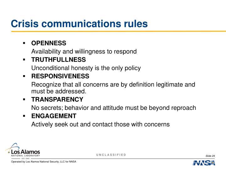 Crisis communications rules