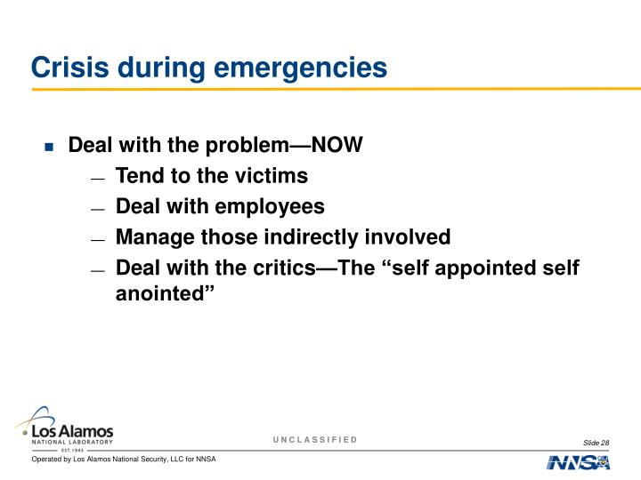 Crisis during emergencies