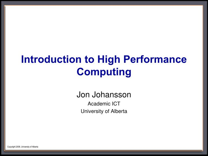 introduction to high performance computing n.
