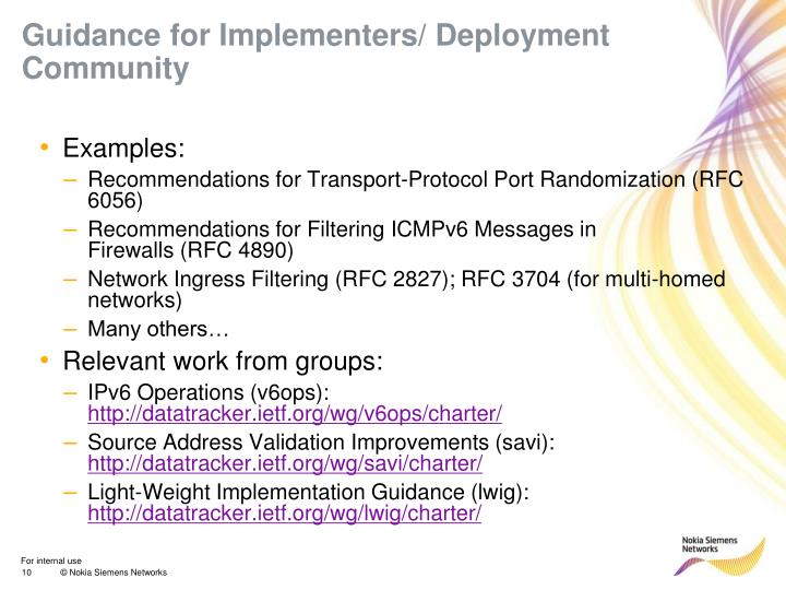 Guidance for Implementers/ Deployment Community