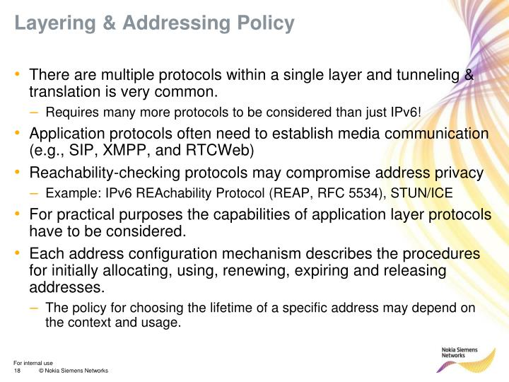 Layering & Addressing Policy
