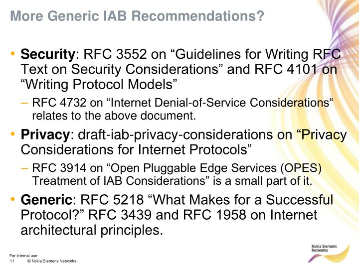 More Generic IAB Recommendations?