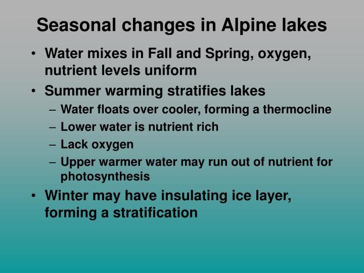 Seasonal changes in Alpine lakes