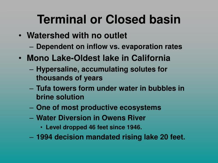 Terminal or Closed basin
