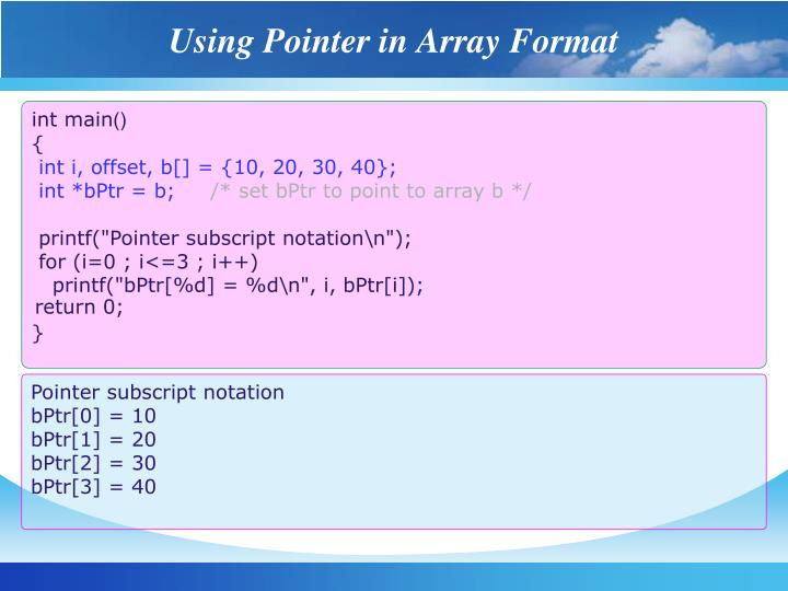 Using Pointer in Array Format