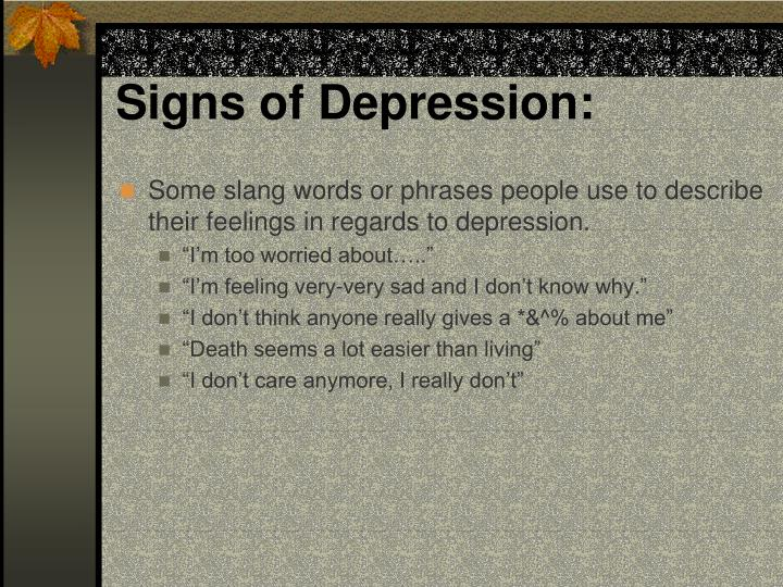Signs of Depression: