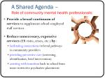 a shared agenda role of community mental health professionals