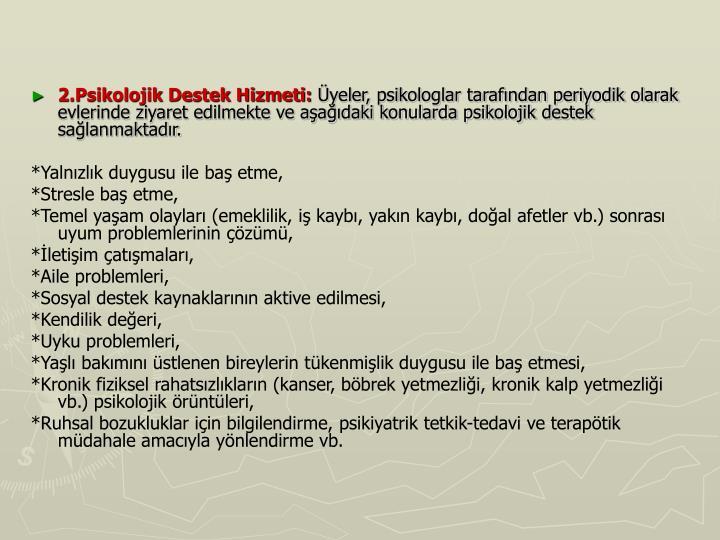 2.Psikolojik Destek Hizmeti: