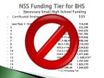 nss funding tier for bhs