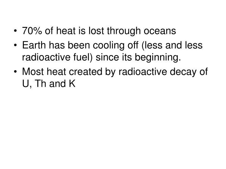 70% of heat is lost through oceans