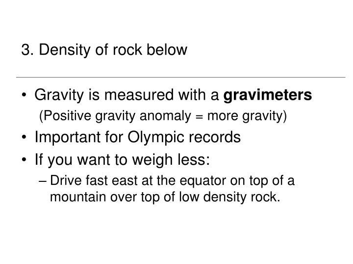 3. Density of rock below