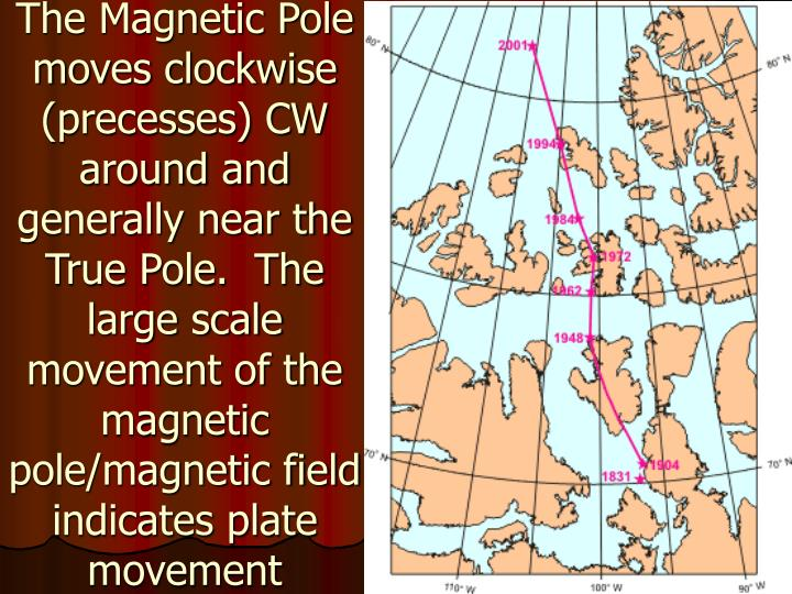 The Magnetic Pole moves clockwise (precesses) CW around and generally near the True Pole.  The large scale movement of the magnetic pole/magnetic field indicates plate movement