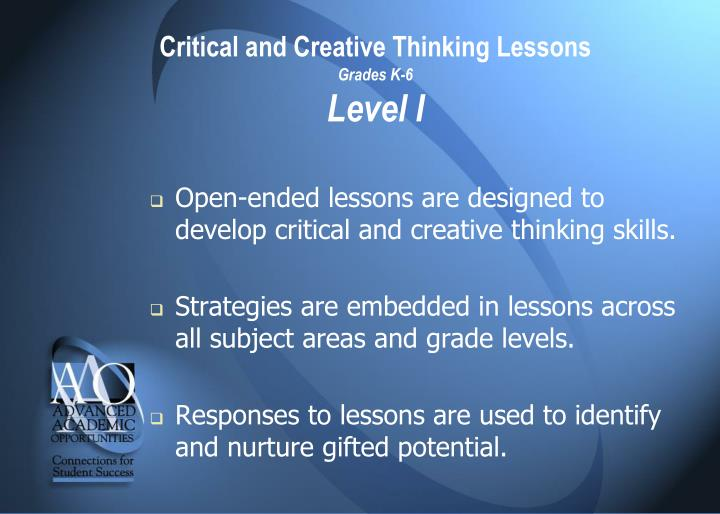 Critical and Creative Thinking Lessons