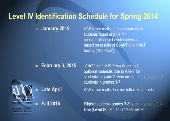 Level IV Identification Schedule for Spring 2014