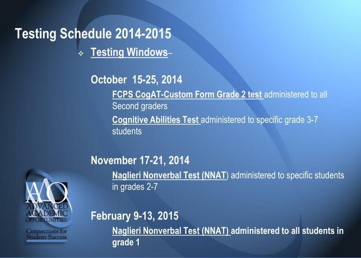 Testing Schedule 2014-2015