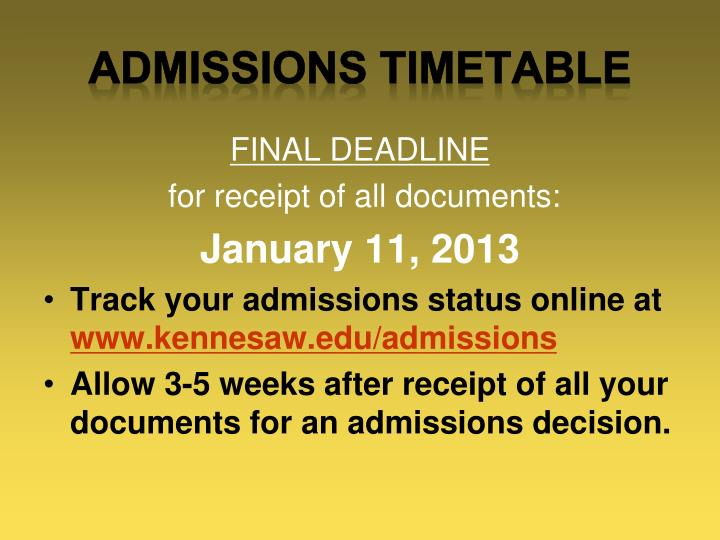 Admissions TIMETABLE