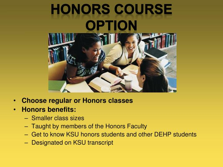 Choose regular or Honors classes