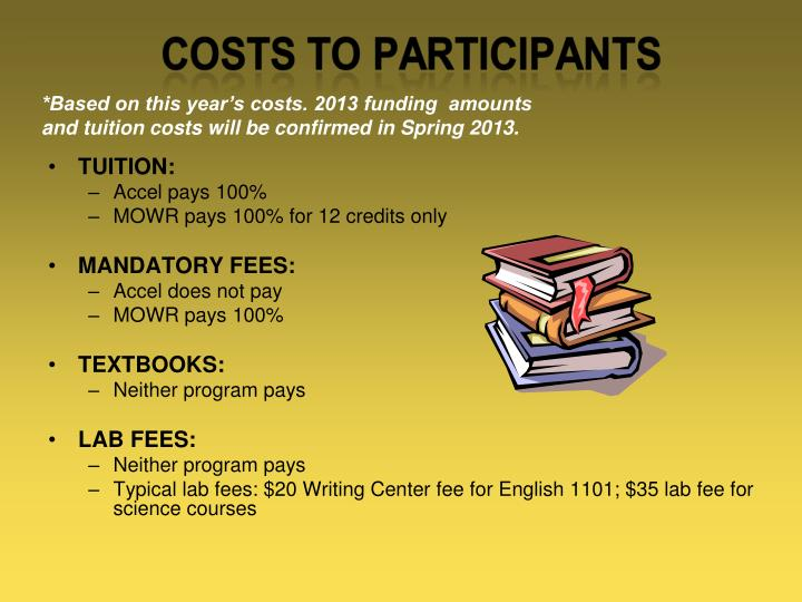 *Based on this year's costs. 2013 funding  amounts and tuition costs will be confirmed in Spring 2013.