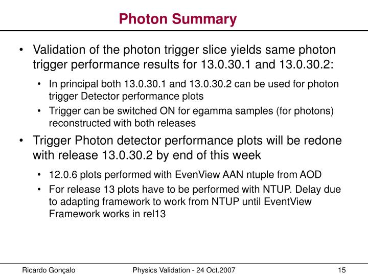 Photon Summary