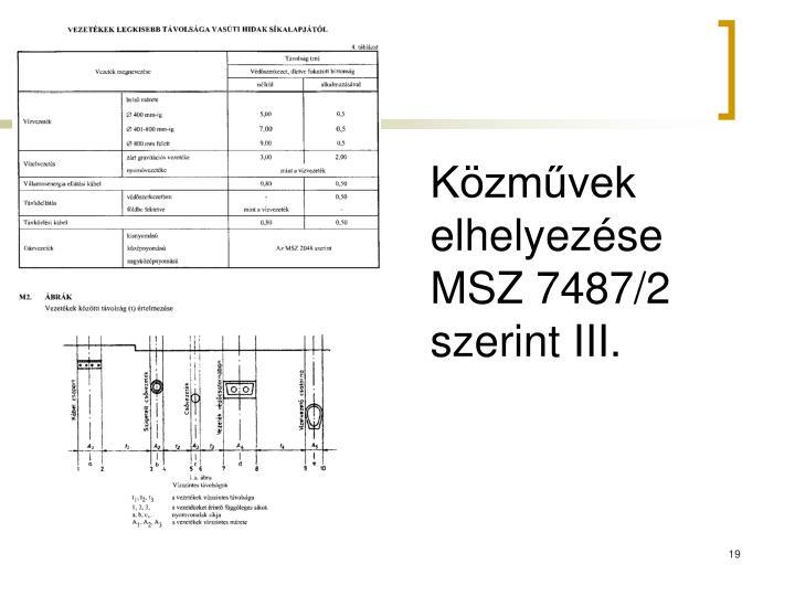 Közművek elhelyezése MSZ 7487/2 szerint III.