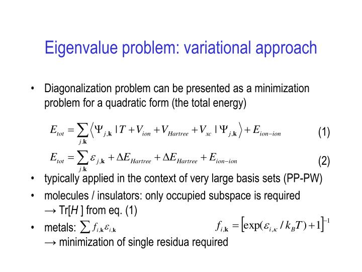 Eigenvalue problem: variational approach