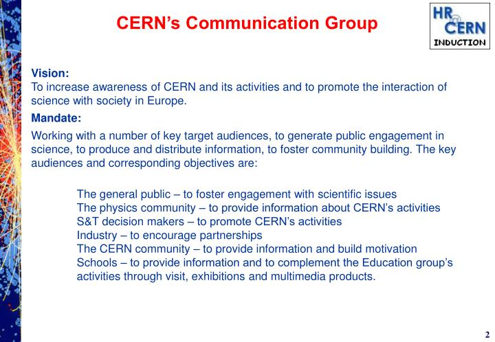 Cern s communication group