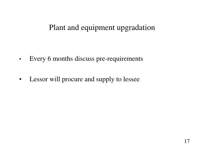 Plant and equipment upgradation