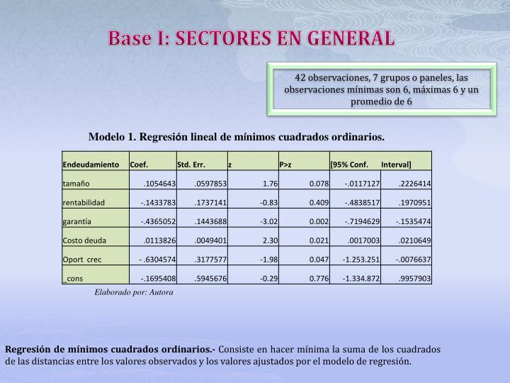 Base I: SECTORES EN GENERAL