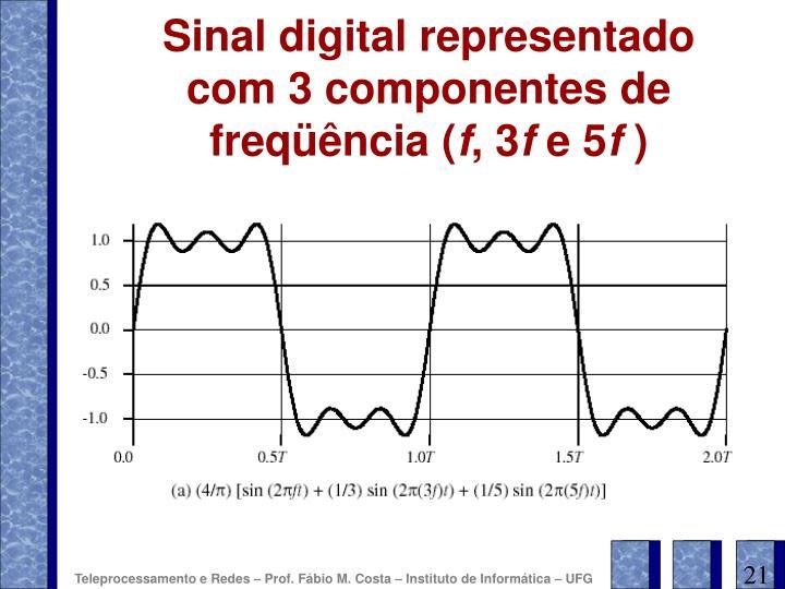 Sinal digital representado com 3 componentes de freqüência (