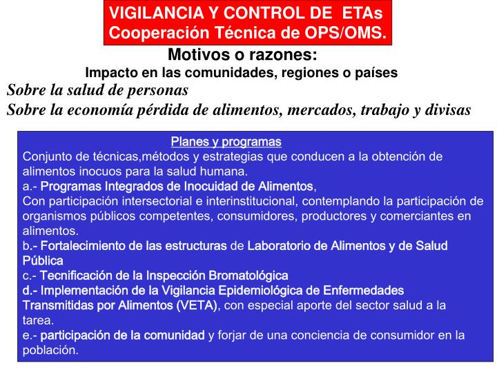 VIGILANCIA Y CONTROL DE  ETAs