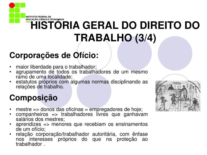 HISTÓRIA GERAL DO DIREITO DO TRABALHO (3/4)