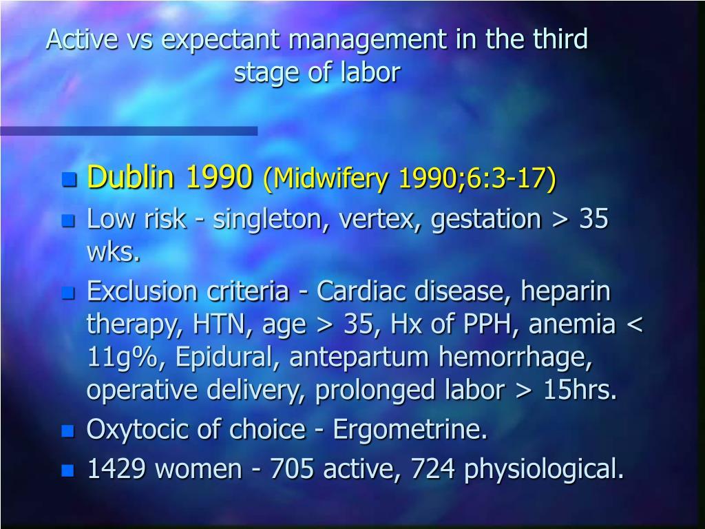 PPT - ניהול שמרני לעומת אקטיבי של השלב השלישי של הלידה ...