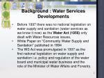 background water services developments