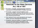 rationale for the water services act 108 of 1997