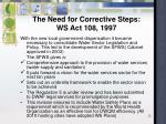 the need for corrective steps ws act 108 1997