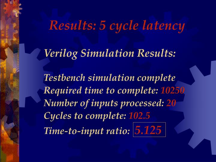 Results: 5 cycle latency