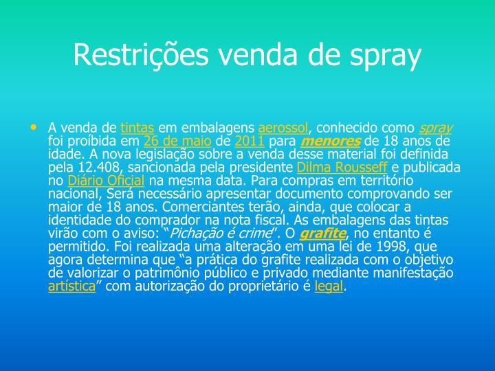 Restrições venda de spray